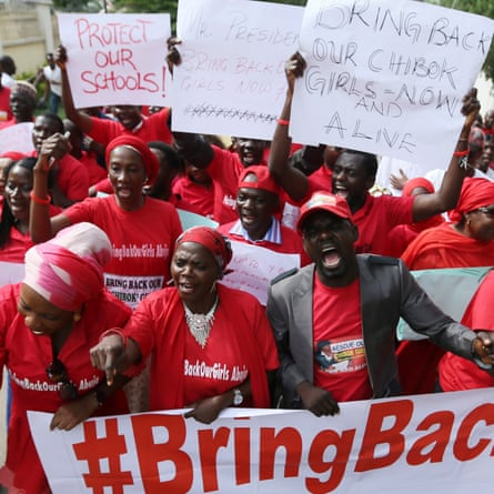 A 2014 protest demanding the release of the girls abducted from Chibok by Boko Haram.