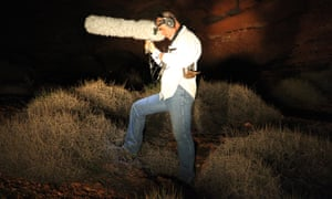 Ecologist Steve Murphy doing an audio survey looking for night parrots.
