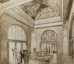 Branwgyn's design for the Sheer Pleasure gallery Entrance Hall of Art Gallery, 1918–1920
