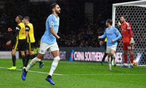 Manchester City's Riyad Mahrez celebrates scoring his team's winner.