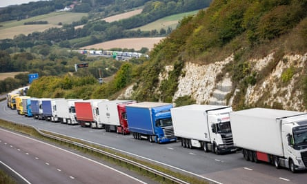 Lorries queue on the A20 near Dover in Kent