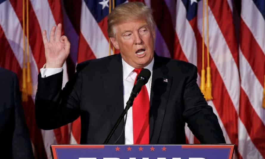 'Epically divisive': Donald Trump at an election night rally in Manhattan