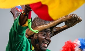 2018 FIFA World Cup: Japan 2 - 2 Senegal<br>YEKATERINBURG, RUSSIA - JUNE 24, 2018: Senegal's supporter cheers during a 2018 FIFA World Cup Group H match between Japan and Senegal at Yekaterinburg Arena. The game ended in a 2-2 draw. Sergei Bobylev/TASS (Photo by Sergei Bobylev\TASS via Getty Images)
