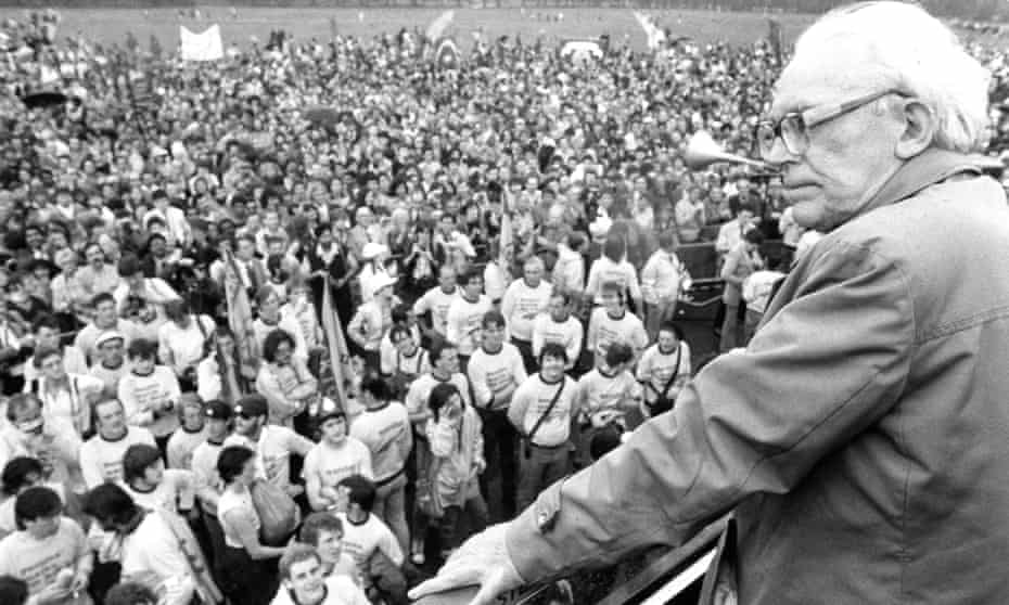 Michael Foot at a people's march for jobs in Hyde Park in 1983 when the UK had mass unemployment.