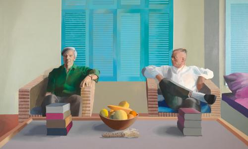 Hockney's portrait of Christopher Isherwood and Don Bachardy, 1968.