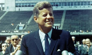 President John F Kennedy at Rice University Stadium on 12 September 1962, where he delivered his 'We choose to go to the moon' speech.