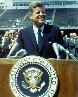 President John F Kennedy gives a speech about travel to the moon in 1962