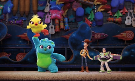 Ducky and Bunny (voiced by Keegan-Michael Key and Jordan Peele) with Woody and Buzz (Tim Allen).