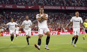 Sevilla's Andre Silva celebrates after scoring against Real Madrid