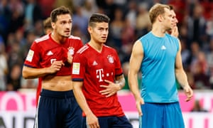 There are doubts over whether Mats Hummels, left, James Rodríguez and Manuel Neuer have the capacity to win the Champions League for Bayern Munich this season.