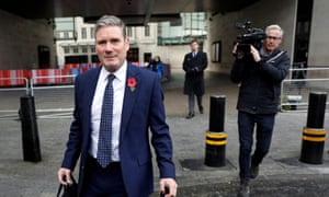Keir Starmer leaving BBC HQ this morning after his interview with Andrew Marr.