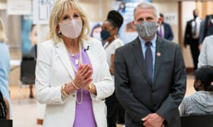 Jill Biden and Anthony Fauci in Harlem, New York City, earlier this month.