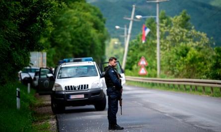 A Kosovan police officer near Mitrovica