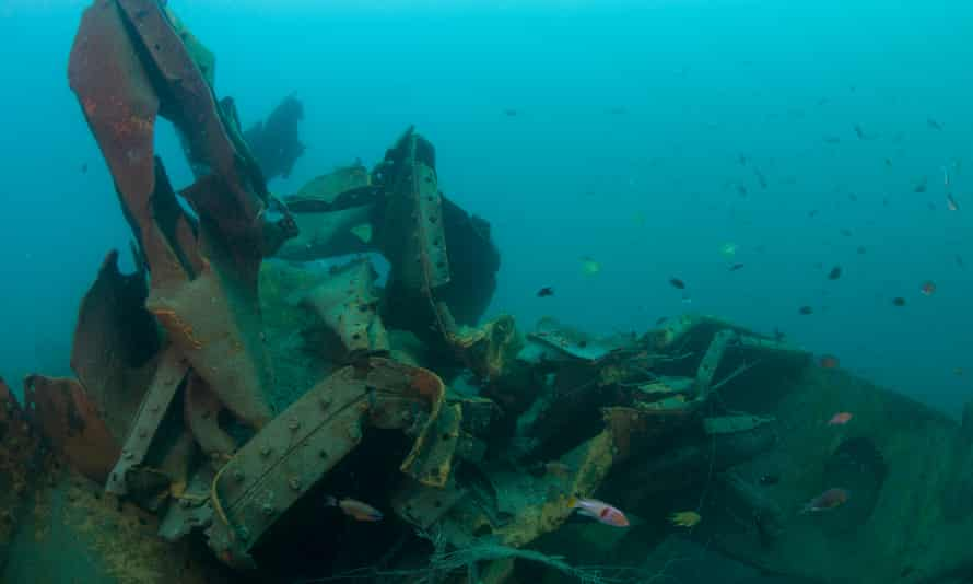 Rice Bowl Wreck, one of three Japanese second world war ships that lie off the coast of Borneo. The wrecks have been destroyed by a metal salvage operation.