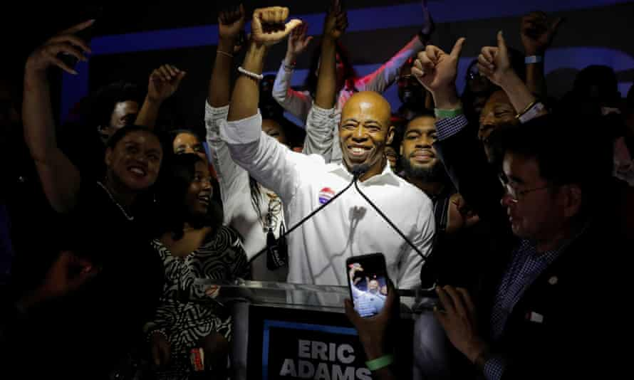 Eric Adams speaks at a New York City primary mayoral election night party on 22 June