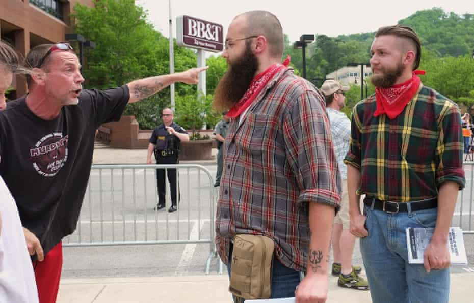 A Pikeville resident argues with Redneck Revolt protesters.