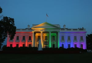 Rainbow colored lights shine on the White House to celebrate the day the US supreme court ruled in favor of same-sex marriage, 26 June 2015