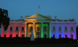 Rainbow-coloured lights shine on the White House to celebrate todays US supreme court ruling.