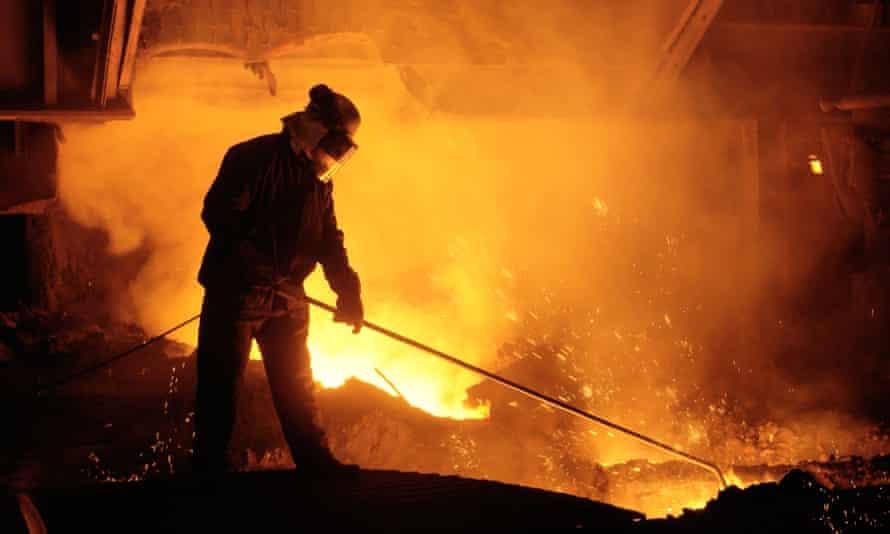 Steel worker at a blast furnace in Port Talbot