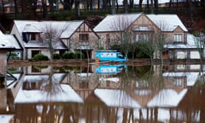 Flooded houses at Port Elphinstone, Aberdeenshire, after the river Don burst its banks.