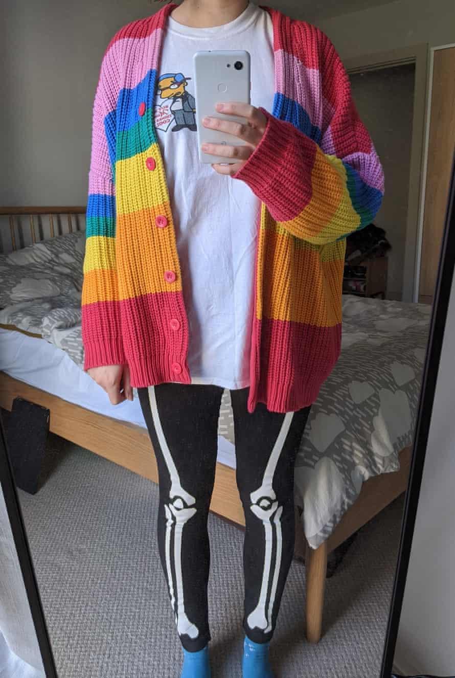 Lizzie in her rainbow cardigan