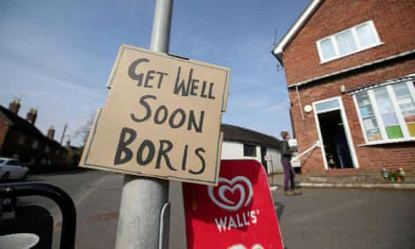 A sign of support for Johnson