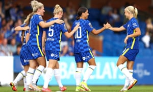 Sam Kerr of Chelsea celebrates with Pernille Harder after scoring their side's second goal .