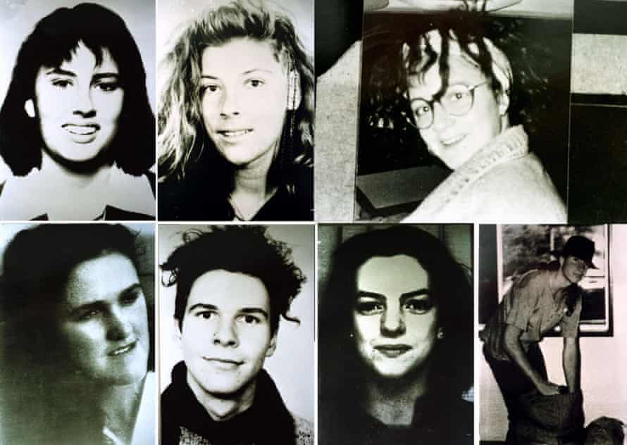 Milat's victims, clockwise from top left: Deborah Everest, Anja Habschied, Simone Schmidl, James Gibson, Caroline Clarke, Gabor Neugebauer and Joanne Walters
