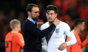 Gareth Southgate consoles John Stones after his error sparked England's Nations League meltdown against the Netherlands.