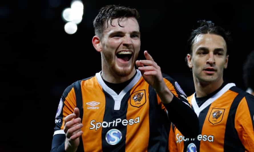 Hull City's Andrew Robertson and Lazar Markovic celebrate after the 0-0 draw at Manchester United.