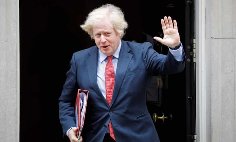 Boris Johnson with messy hair leaving Downing Street.