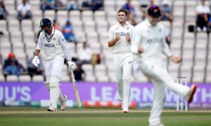 Tim Southee celebrates after taking the wicket of India's Jasprit Bumrah.