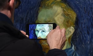 A Van Gogh self portrait being photographed