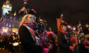 Pipers on Princes Street during 2018's Hogmanay celebrations in Edinburgh.