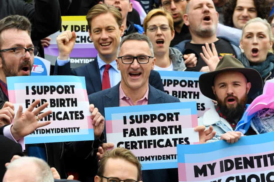 The Australia Greens leader, Richard Di Natale, with supporters of the gender diverse birth certificate bill outside the Victorian state parliament