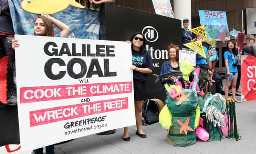 A coalition of environment groups protest outside the Hilton Hotel in 2012 when the Galilee basin coal conference took place.