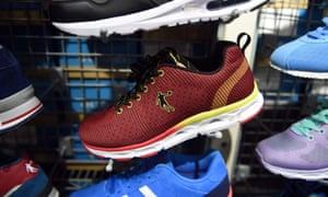 A Qiaodan-branded trainer in a store in Beijing