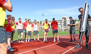 Warming to his methods, Southampton players with Hasenhüttl (second from right) in Tenerife.