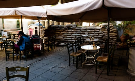 A cafe in Nicosia near the separation line between the two communities.