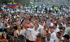 Juan Guaidó takes a selfie at the concert in Cúcuta, Colombia, in February.