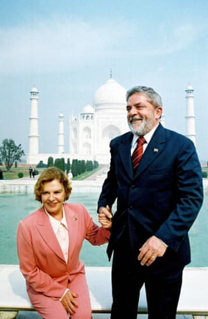 The then president of Brazil, Luiz Inácio Lula da Silva, pictured with his wife, Marisa, while seeking a trade deal with India in 2004
