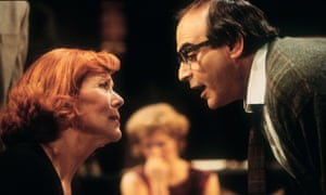 Diana Rigg as Martha and David Suchet as George, with Clare Holman in the background, in the Almeida's 1996 production of Who's Afraid of Virginia Woolf?