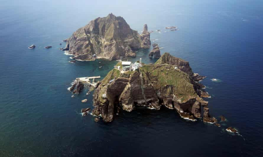 A view of remote islands called Dokdo in Korean and Takeshima in Japanese