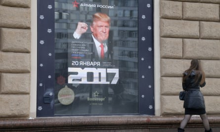 A poster for a Moscow store offers discounts to Americans on the day of Donald Trump's inauguration
