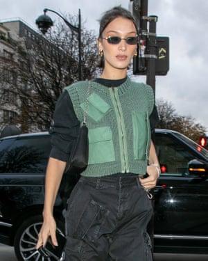 Bella Hadid in 2019, wearing Matrix-style sunglasses