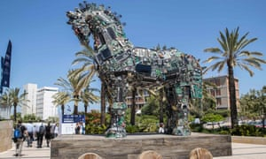 A Trojan horse made from technology components infected with viruses and malware at the Cyber Week conference, Tel Aviv