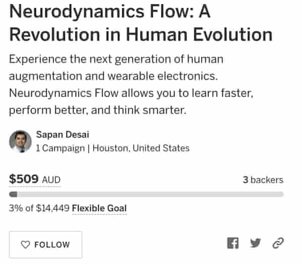 A screengrab of Dr Sapan Desai's Indiegogo page for the device called the Neurodynamics Flow