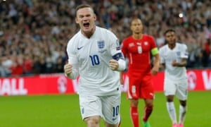 Wayne Rooney celebrates becoming England's all-time leading goalscorer at Wembley in September 2015.