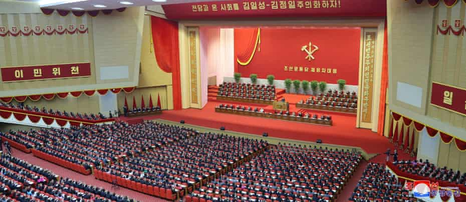 Kim Jong-un speaks on the first day of the Eighth Congress of the Workers' party in Pyongyang.