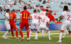 Wales' Kieffer Moore powers in the equalizer.